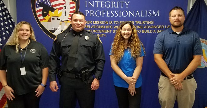 New employees at the Hutchinson Police Department are, from left, Dispatcher Michaela Juan, Police Officer Dustin Davis, Animal Shelter Technician Jasmine Merrell, and IT Technician Tyson Weber.