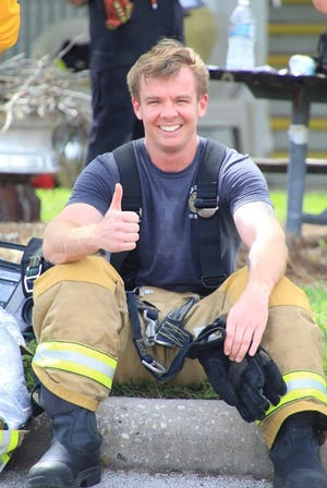 Lakeland firefighter Clay Geiger returned to work Friday after battle with cancer.