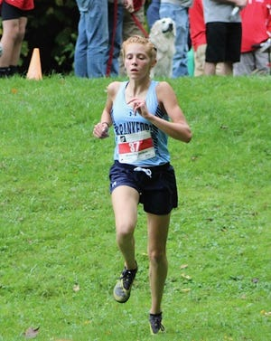 Frankfort's Addison Lease won the area cross country championship in a time of 22:02 at New German State Park.