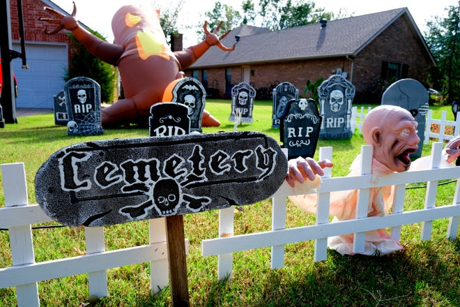 Ronnie and Rebecca Coleman's yard is ready for Halloween on Chimney Hill in Edmond. They say they usually have around 400 children come by for Trick-or-Treat.