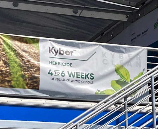 A display promoting the new Kyber herbicide from Corteva is shown at this year's Farm Progress Show in Decatur.