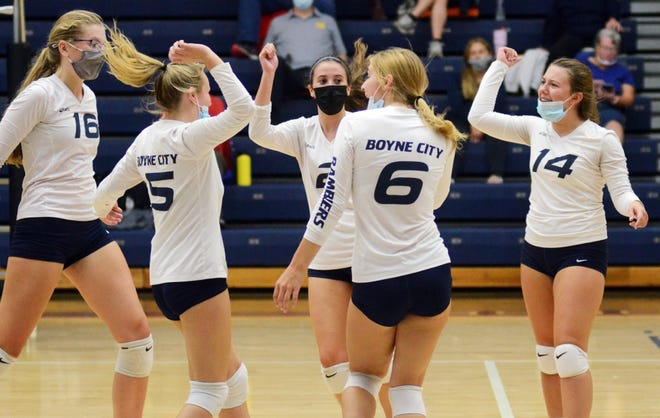 The Boyne City volleyball team, pictured here celebrating a point from a match earlier this season, picked up a five-set win over Charlevoix Thursday in a league match on the road.