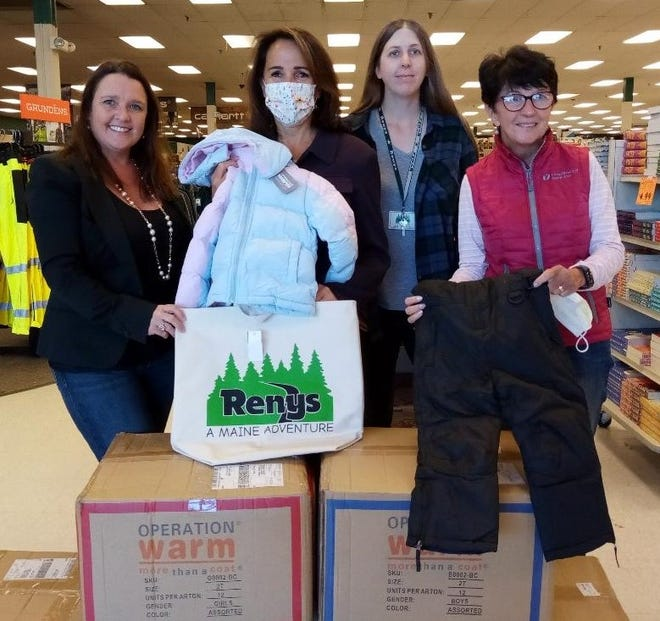Pictured from left to right are Wells Rotary President Danielle DeFelice, Jenn Quimby of York County Community Action Corporation, Jennifer Norton of Renys and Wells Rotarian Deborah LaPointe.