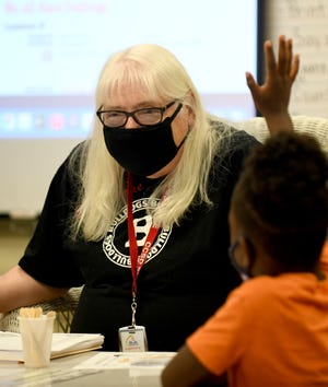 Retired teacher Christine Lones has returned to the classroom as a substitute teacher for the Canton City School District. On Friday, she taught a kindergarten class at Stone Elementary. School districts across Ohio are facing a shortage of substitute teachers and a higher need for them.