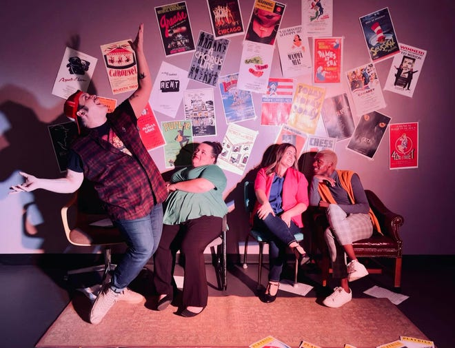 """From left, Brian F. Finnerty, Debbi White, Jennifer Baker and Andrew Smiley star in the Players Centre for Performing Arts production of the musical """"[title of show]."""""""