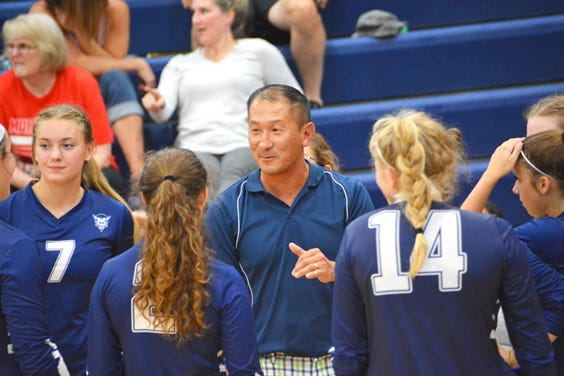 Sault High coach Vince Gross talks to the team during a time out in this file photo. The Blue Devils swept past Onaway and Cheboygan Thursday night.