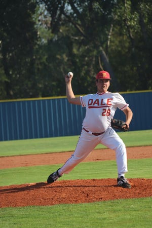 Dale starting pitcher JB Leaver makes the delivery against Rattan on Thursday in the first round of the Class A State Fall Baseball Tournament at Dolese Park in Oklahoma City.
