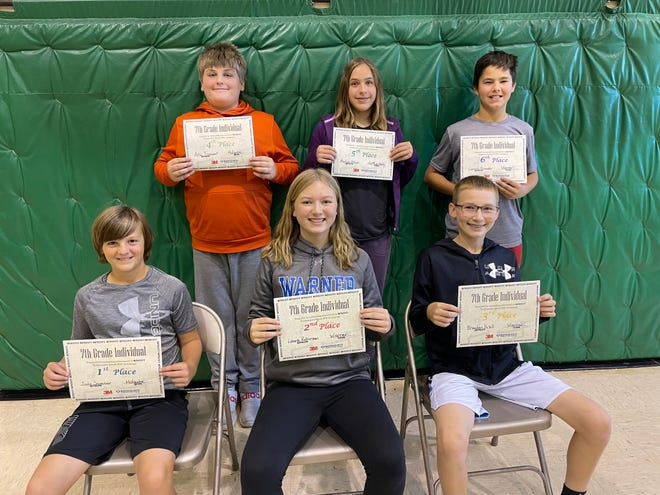 The 7th grade individual award winners of the MATHCOUNTS competition at Northwestern are, back row from left: Aric Tennant, Holgate, 4th place; Marlys Otten, Gettysburg, 5th place; Lincoln Bruisker, Warner, 6th place. Front row from left: Jude Sumner, Holgate, 1st place; Laura Robinson, Warner, 2nd place; Braydon Kroll, Warner, 3rd place.