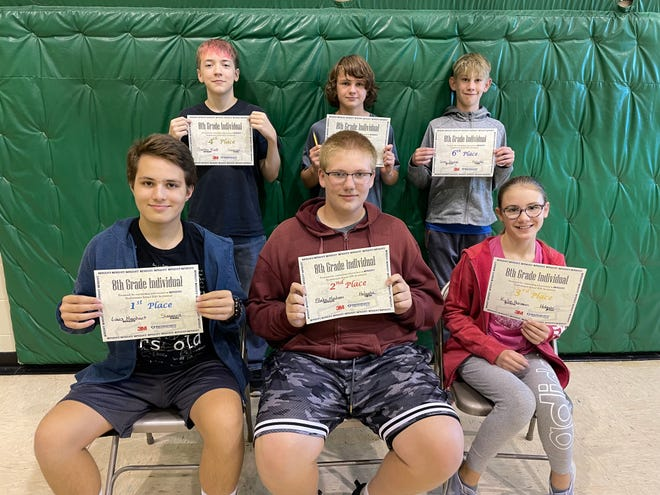 The 8th grade individual award winners of the MATHCOUNTS competition at Northwestern are, back row from left: Baeten Klatt, Simmons, 4th place; Gabe Sumner, Holgate, 5th place; Grey Hauge, Holgate, 6th place. Front row from left: Louis Manhart, Simmons, 1st place;  Blake Madsen, Holgate, 2nd place;  Kylie Herman, Holgate, 3rd place.