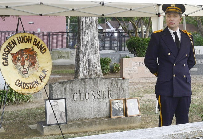 """Mort Taylor portrays Mort Glosser on Oct. 20, 2019, during """"A Walk Through Time"""" at Forrest Cemetery in Gadsden. The event returns on Sunday after last year's cancellation because of COVID-19."""