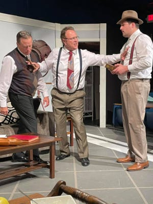 """Tensions build as Ben Hecht (Edd Spradling), David O. Selznick (Rich Raymond) and Victor Fleming (Ben Rosewell) are locked together in a room for five days in Theatre Rocks! hilarious production of """"Moonlight and Magnolias."""""""