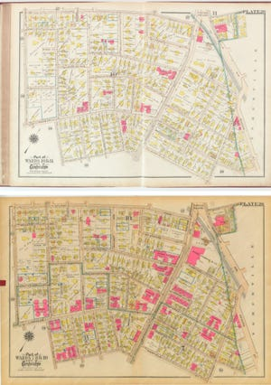 These property maps from 1916 and 1930 show how apartment buildings proliferated in the early part of the 20th century.