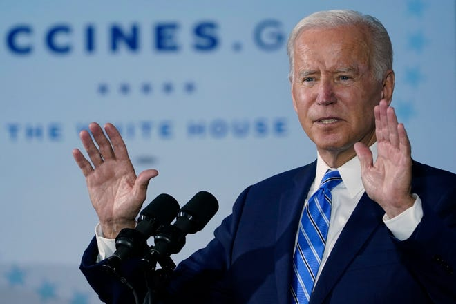 President Joe Biden speaks about COVID-19 vaccinations after touring a Clayco Corporation construction site for a Microsoft data center in Elk Grove Village, Ill., Thursday, Oct. 7, 2021.