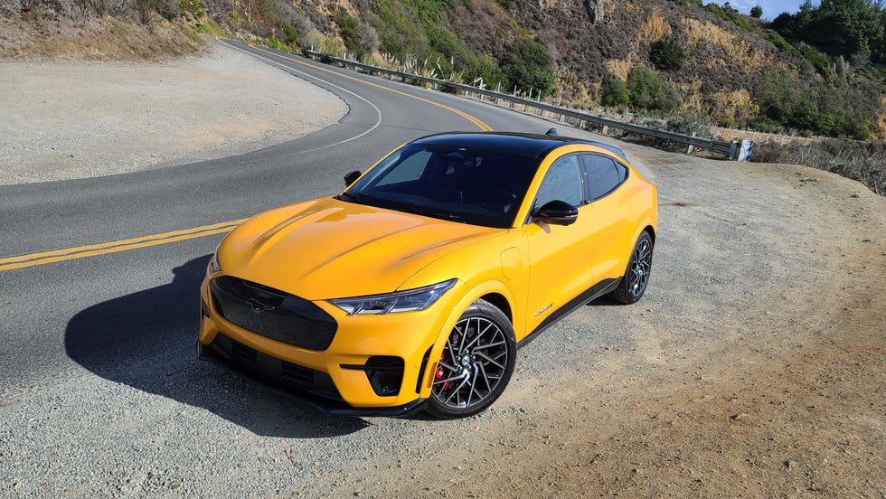 The 2022 Ford Mustang Mach-E GT Performance Edition is porky at nearly 5,000 pounds. But magnetic shocks and big Brembo brakes help keep it strapped to pavement.