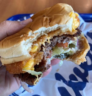 Yes, a cheese curd topping a burger is tasty.