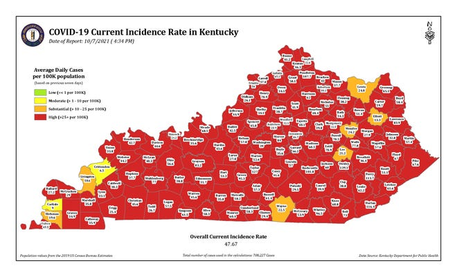 The latest map of COVID-19 incidence rates in the state of Kentucky, broken down by county. The map is issued by the Kentucky Department for Public Health.