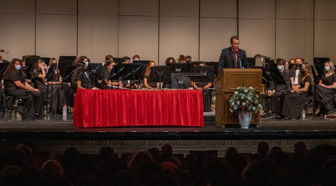 Principal of Jefferson High School, Mark Preston, speaks to the audience about the induction of the four new members into the school's hall of fame, in Lafayette, Friday, Oct. 8, 2021.