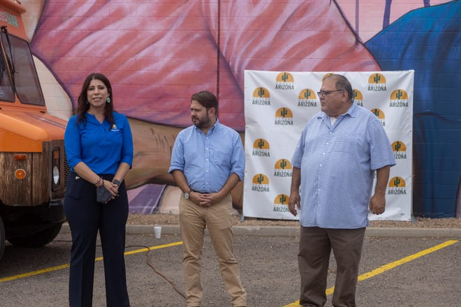 Rep. Ruben Gallego (center) was present during the vaccination event in Maryvale.