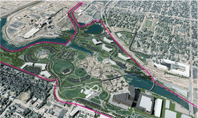 A rendering of a proposal for an expanded Falls Park.
