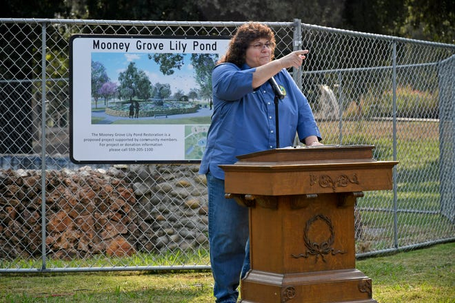 Amy Shuklian, Chair of the Tulare County Board of Supervisors, thanks members of the city and county for supporting the park revitalization project.