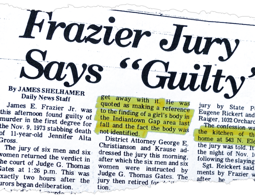 In Christi Daubert's box of court documents and newspaper clippings, she has this story from the Lebanon Daily News when James E. Frazier was found guilty of killing Christi's friend. She highlights passages that give her clues or cause her to ask more questions.