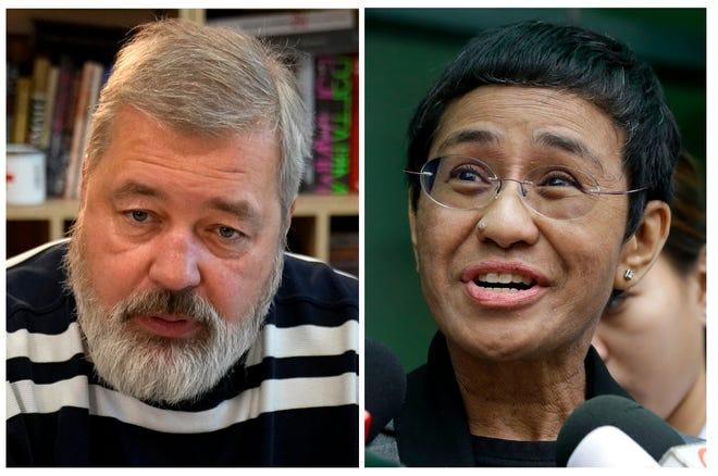 Một tập hợp các hình ảnh tệp của biên tập viên Novaya Gazeta Dmitry Muratov, bên trái và của Giám đốc điều hành Rappler và Biên tập viên điều hành Maria Ressa.  Vào thứ Sáu, ngày 8 tháng 10 năm 2021, Giải Nobel Hòa bình đã được trao cho các nhà báo Maria Ressa của Philippines và Dmitry Muratov của Nga vì cuộc đấu tranh cho quyền tự do ngôn luận của họ.