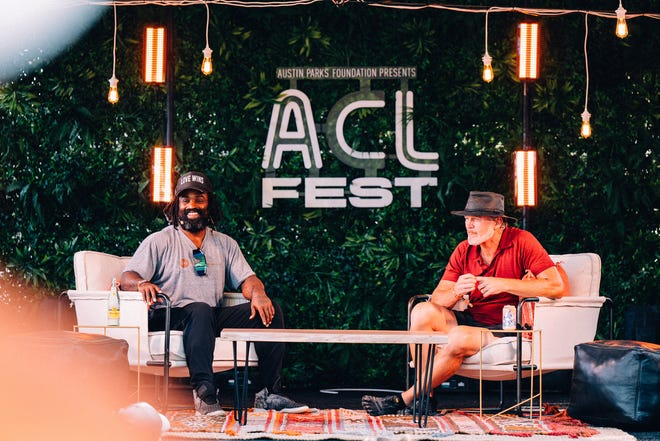 Ricky Williams, left, and Brian Bosworth chat on Austin City Limits Music Festival's Bonus Tracks Stage on Oct. 8, 2021.