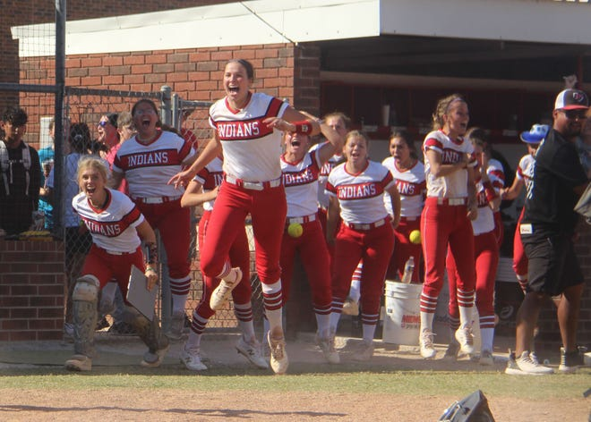 The Lady Indians celebrate after tallying a 4-3 walk-off win over Newcastle Friday that forced a winner-take-all contest. Plainview won that game 6-0 to earn a trip to the 4A State Tournament.