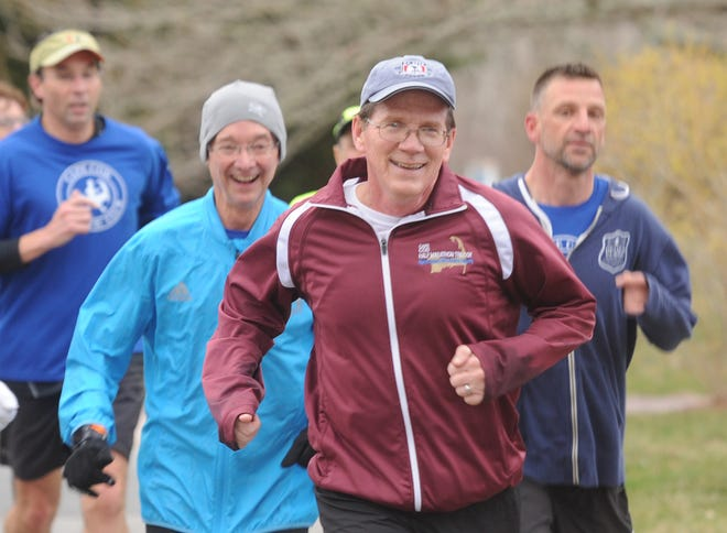 Richard Houston, center, pictured here training with a group back in April 2019, is looking forward to Monday's Boston Marathon.