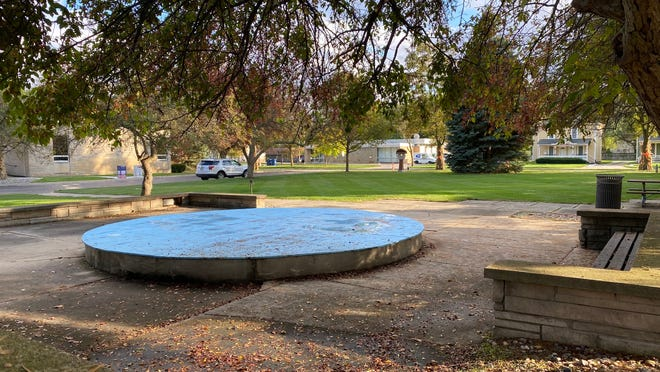 A timberframe stage would replace the nonfunctioning fountain at Tecumseh's Adams Park under a proposal that would update the layout of the park. The stage would be used for Music in the Park and Movies in the Park.