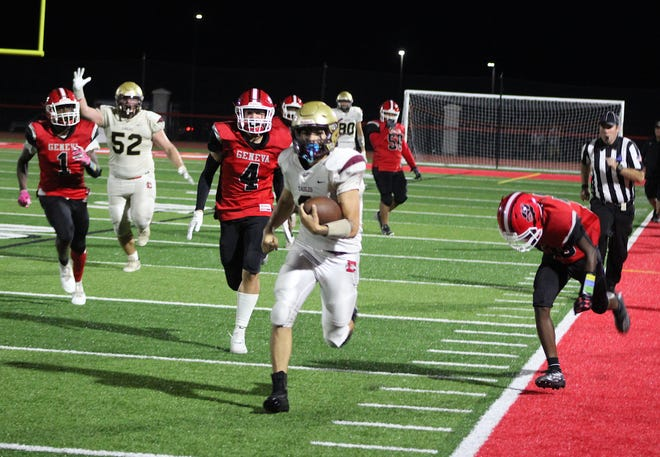 Dansville-Wayland-Cohocton's Evan Pruonto races down the sideline for a touchdown on Friday evening in Geneva.