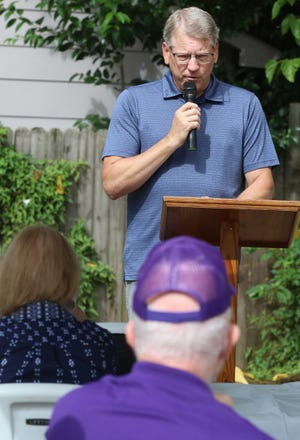 Don Lineberger, Jr. speaks during the Cramerton Historical Society's Cramerton Fish Fry Honoring the Legacy of Luther and Stella Lineberger held Saturday at the Cramerton Historical Museum.