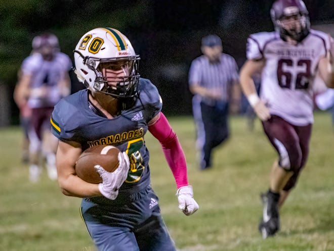 Abingdon-Avon High School sophomore Kellen Hook looks for running room during the Tornadoes' 18-7 win over Princeville in Lincoln Trail Conference action on Friday, Oct. 8, at Don Viar Memorial Field.
