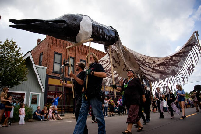 Fennvillle celebrates goose festival with a parade through downtown Saturday, Oct. 9, 2021, in downtown Fennville.