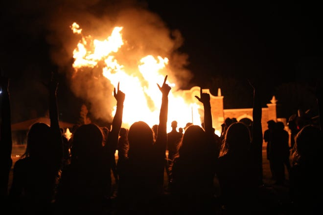 Red Raider fans celebrated homecoming with a traditional bonfire Friday evening.