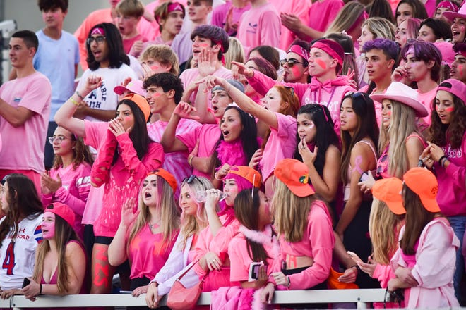 New Hartford students wore pink for breast cancer awareness month during the game against Camden on Friday, Oct. 8, 2021.