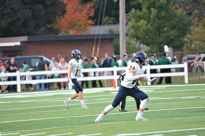 Gaylord sophomores Ty Bensinger and Brady Pretzlaff prepare for the kickoff against Traverse City West.
