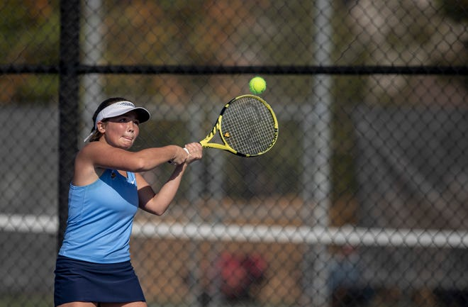 Guilford's Anju Griffeth hits a return during the No. 1 doubles final at Harlem High School on Saturday, Oct. 9, 2021, in Machesney Park. Guilford lost that match but edged Auburn 52.6 to 52 to win its first NIC-10 girls tennis team title since 2014.