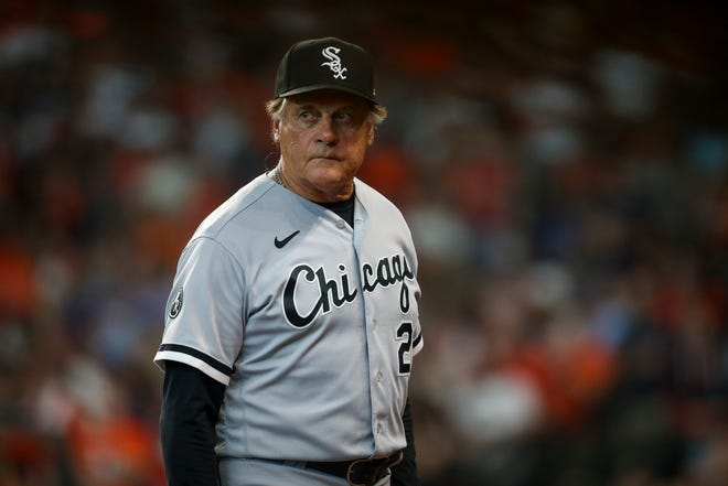 Oct 8, 2021; Houston, Texas, USA; Chicago White Sox manager Tony La Russa (22) walks back to the dugout during the game against the Houston Astros in game two of the 2021 ALDS at Minute Maid Park. Mandatory Credit: Thomas Shea-USA TODAY Sports
