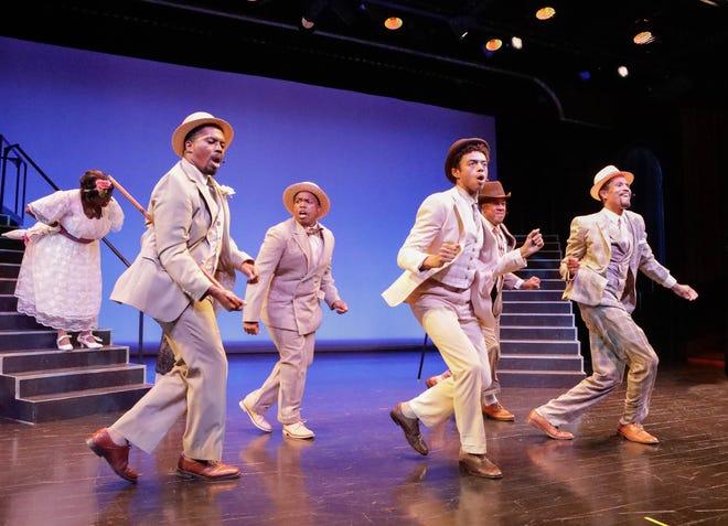 "From left Brian L. Boyd, Jarius Cliett, Ty-Gabriel Jones, Warren Nolan Jr., and Quinn Q Cason dance in the Westcoast Black Theatre Troupe production of ""Eubie!"""
