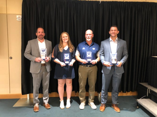 Washburn College inducted six new member into its Athletics Hall of Fame on Saturday. Pictured from left are Sam Sissom, Kate Hampson, Matt Cahill and Zach Watkins. Not pictured: Joe Hastings, Logan Stutz