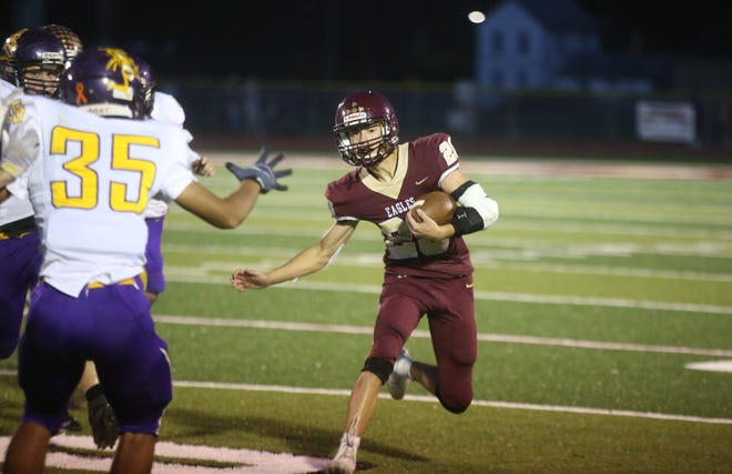 Brogan Renfro scored three touchdowns Friday night at home in a 63-6 victory over McLouth.
