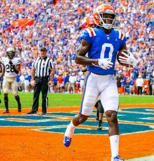 Florida wide receiver Ja'Quavion Fraziars scores the second touchdown of the game in the first half Saturday against Vanderbilt at Ben Hill Griffin Stadium.