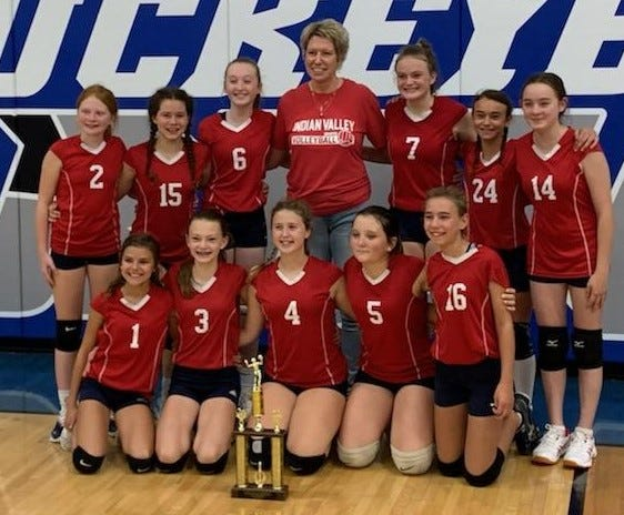 The Inter-Valley Conference 7th grade volleyball champs from Indian Valley is comprised of FRONT Gionna Miles,  Jillian Welch,  Isabella Armstrong,  Zoey Braun & McKenna Rausch. BACK Lily Lewis,  Michaela Creager, Reese Polen,  Coach Michele Eckstein,  Emma Carter,  Lyllie Bibey & Kendra Pulley.