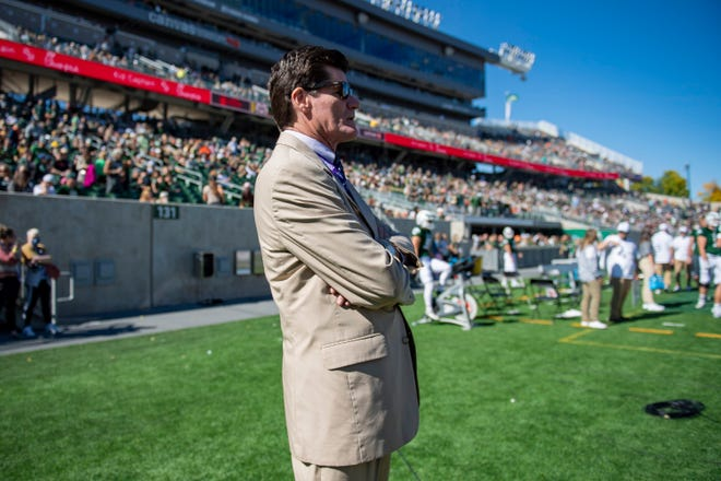 Mountain West Conference commissioner Craig Thompson watches Colorado State's football team take on San Jose State at Canvas Stadium in Fort Collins, Colo., on Saturday, Oct. 9, 2021.
