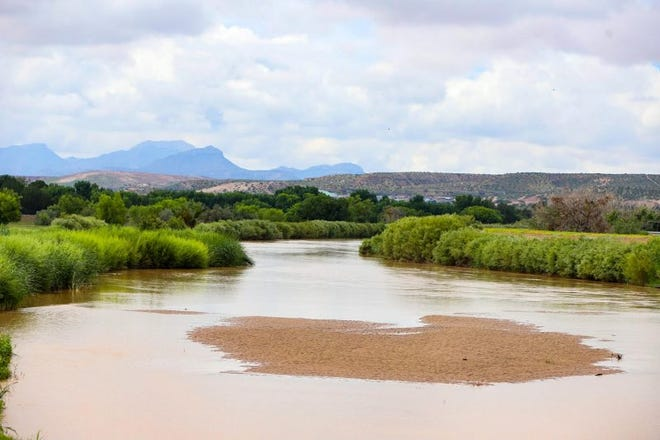 The Rio Grande seen from Country Club Road at the Texas-New Mexico state line, with Mexico's Sierra de Juárez in the background, on Aug. 15. ()