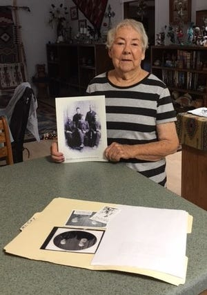 Barbara Hill displays a family photo that will be featured in her presentation on the Hood and McCoy pioneer families on Wednesday, Oct. 13 for the San Juan County Historical Society.