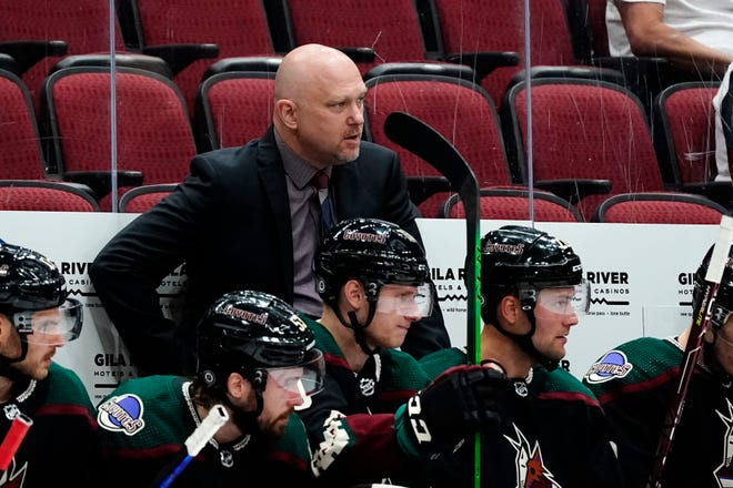 Arizona Coyotes head coach Andre Tourigny sits behind his players on the team bench during the second period of a preseason NHL hockey game against the Anaheim Ducks Saturday, Oct. 2, 2021, in Glendale, Ariz. (AP Photo/Ross D. Franklin)
