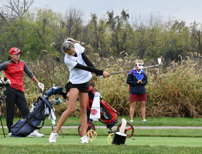 Dallastown senior Makensy Knaub tees off during the District 3 3-A Girls' Golf Championship at Honey Run Golf Club on Saturday. Knaub won her second straight district title during the event.