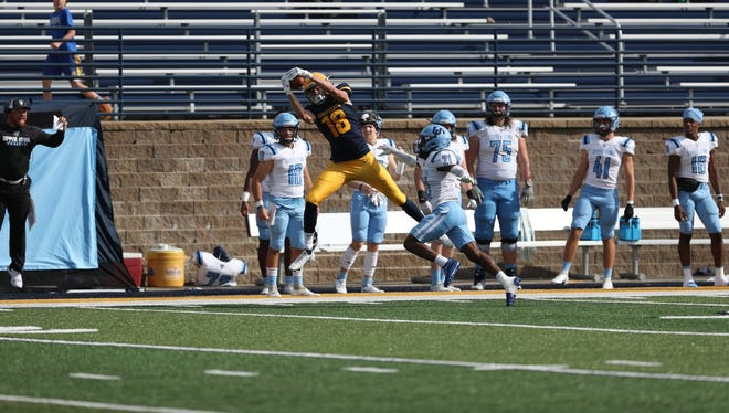 Augustana's Sean Engel goes up for a catch during Saturday's win over Upper Iowa at Jim Heinitz Field